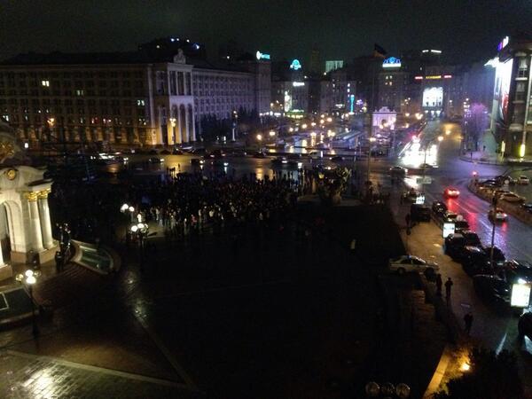 Black Thursday  of Ukraine. People begin to gather at Maidan Nezalezhnosti
