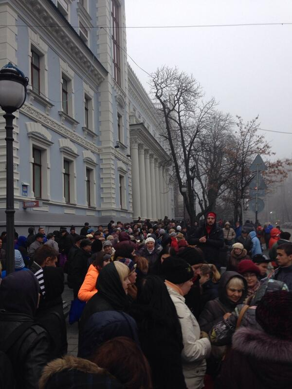 Titushki, anti-EU protesters gather at Instituska street