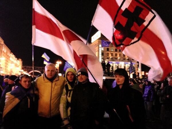 Six guys from Young front of Belarus on Maidan