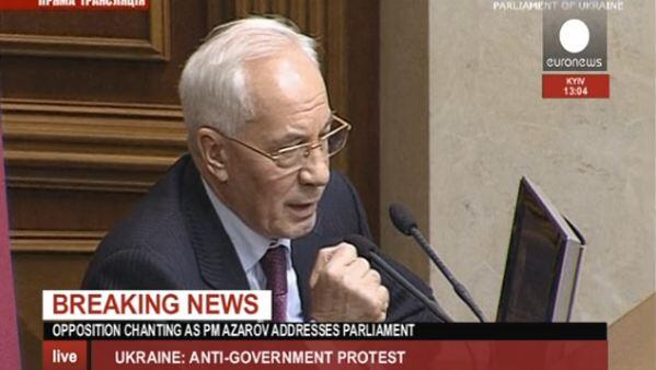 Azarov says there must be no repeat of 'Orange revolution'