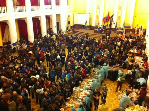 View from inside the occupied Kiev city hall. Food and clothing being provided