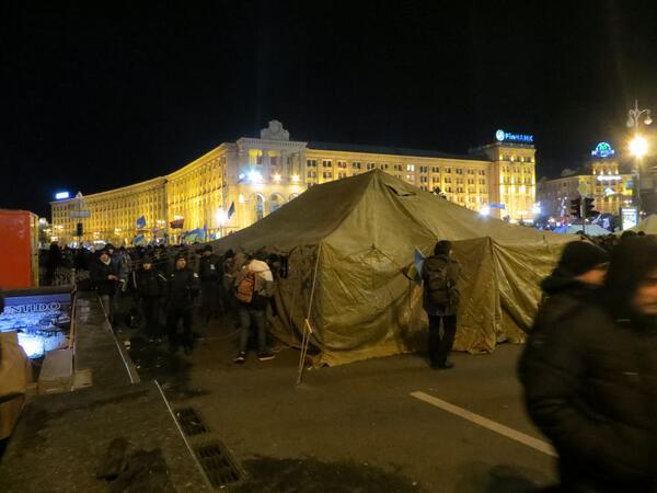 Tent camp at Maidan is growing