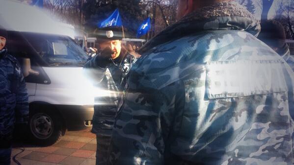 Berkut Kusyuk protecting rally of Party of Regions near Rada