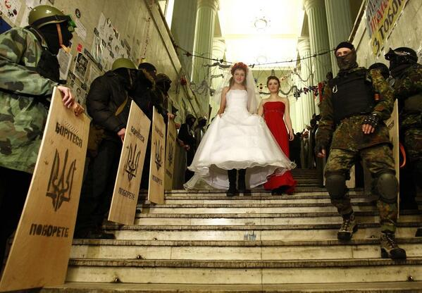 Protesters wedding in Kyiv