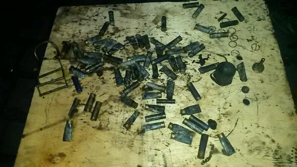 Casings from bullets found at Hrushevskoho at first barricade