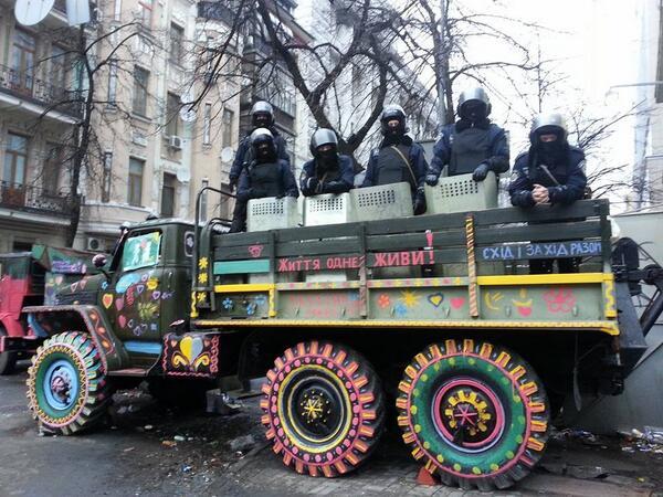 Ukrainian police on color truck