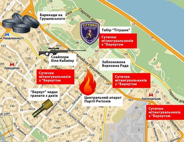 Map of the Kyiv uprising euromaidan