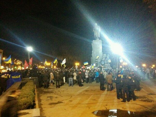 People gathered on the square in Kharkiv