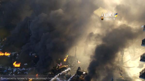 On Hrushevskogo burning tires