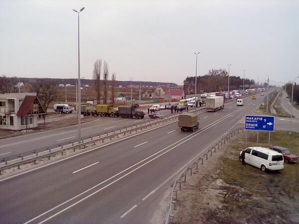 51 km of Zhytomyr highway - movement is blocked by trucks