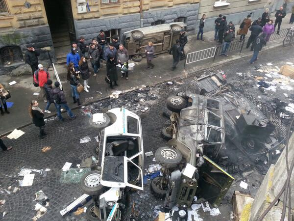 Lviv central police station - destroyed cars