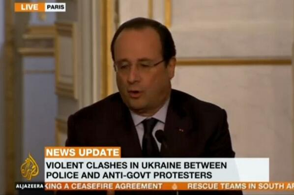 Hollande condemned the clashes in Ukraine