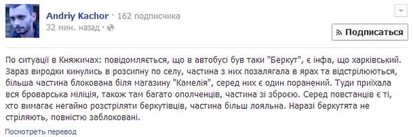 Local police and civil patrol caught Kharkiv's Berkut in Knyazhichi