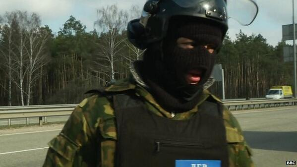 Masked men with baseball bats controlling roads, Kyiv Ukraine