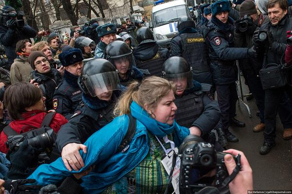 Russia: Another woman arrested in Moscow protest.