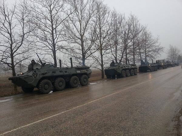 Military convoy In Simferopol