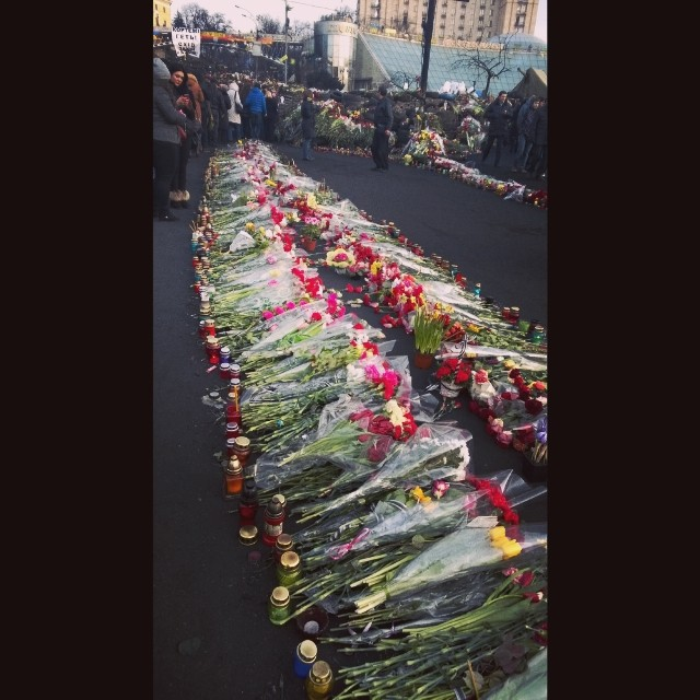 Thousands of flowers at Institutska street