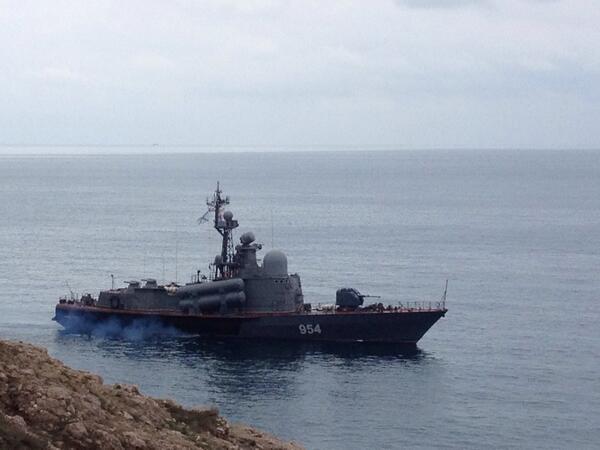 Russian warship in Balaclava bay
