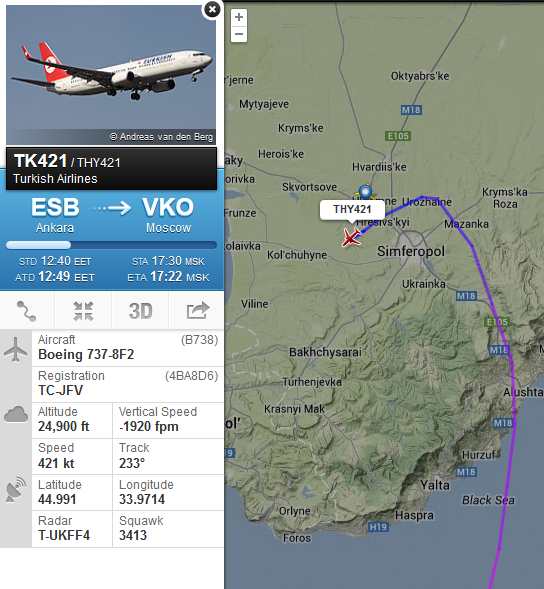 Turkish Airlines from Ankara to Moscow makes sudden u-turn over Crimea