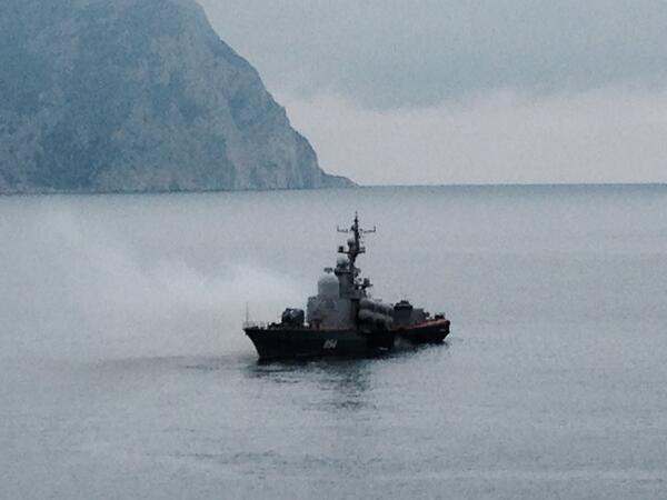 Russian frigate patrolling the entrance to Balaclava port.