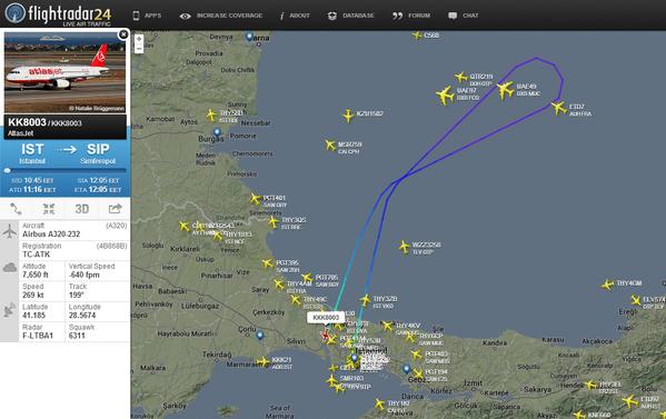 AtlasJet KKK8003 Back to Istanbul.Simferopol airport was occupied by people in military uniform