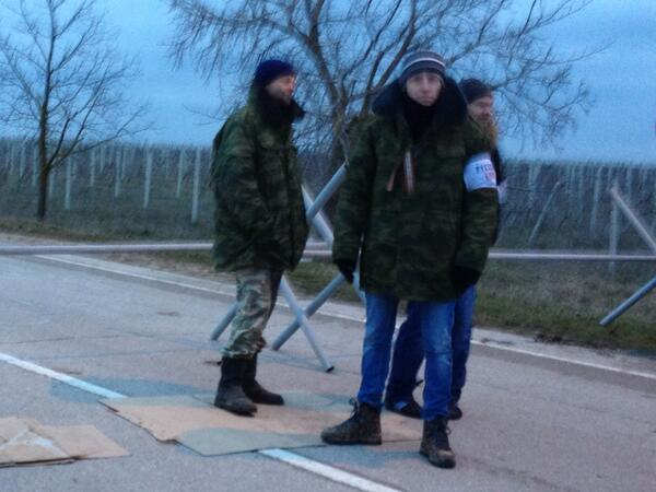 Guys on the self made check point to Belbek airport