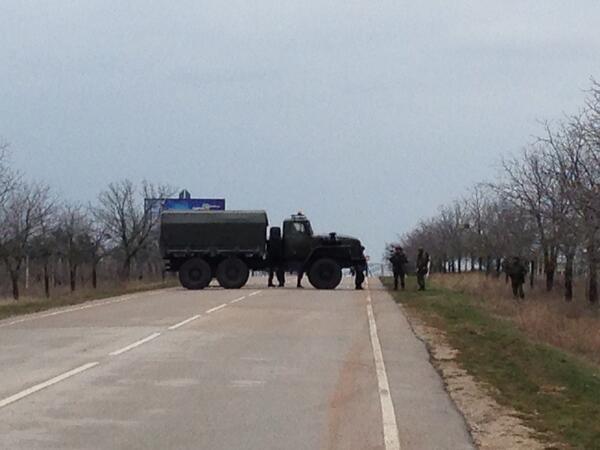 The armed men blocking the way to Sevastopol's Belbek airport:
