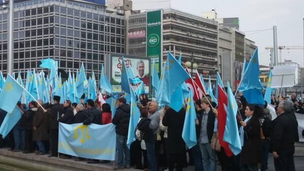 Crimean Tatars protesting against the invasion of Crimea in Ankara, Turkey