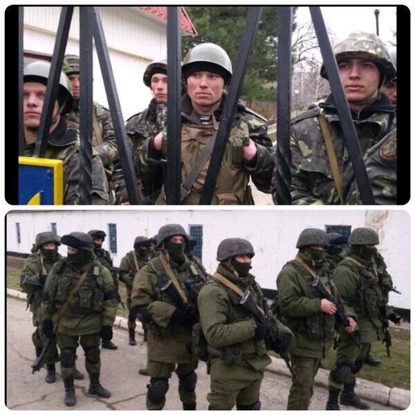 Unarmed Ukrainians soldiers (top) confront Russian armed troops (bottom) in Crimea