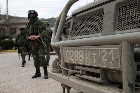 License plates of military vehicles in Belbek Crimea show they came from Russia. No 21 is Chuvashiya zone