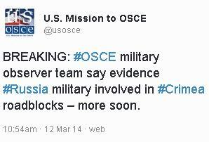 OSCE military observer team say evidence Russia military involved in Crimea roadblocks