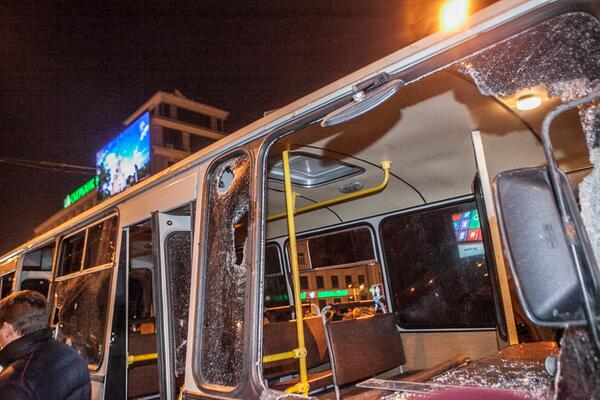Crashed bus in Donetsk