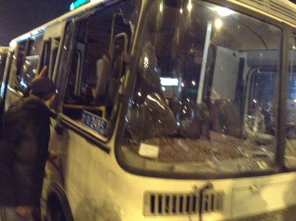 Separatists crashed the bus of police in Donetsk