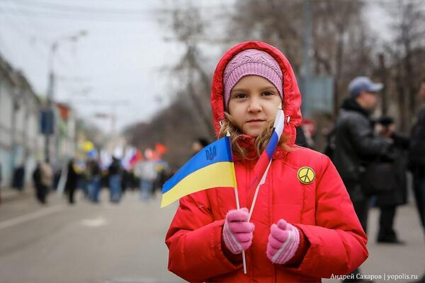 Young anti war protestor in Moscow