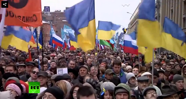 Thousands participating in March for peace against Russian aggression in Crimea