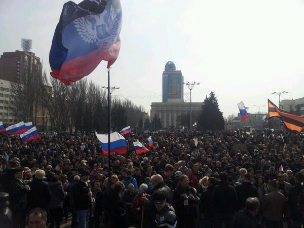 The rally began at the square of around 1,500 people. They are chanting Russia!