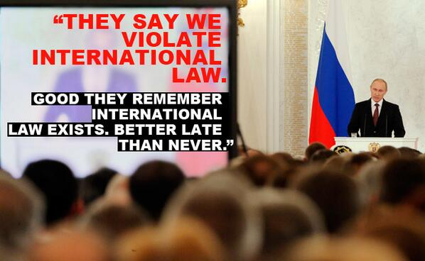 'Good they remember intl law exists': Putin's Crimea address