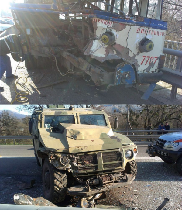Armored vehicle Tiger hit a tram in Crimea