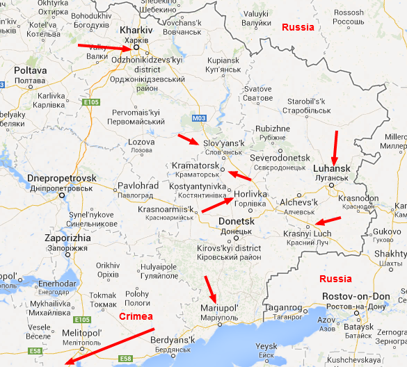 Current locations attacked by pro-Russia separatists
