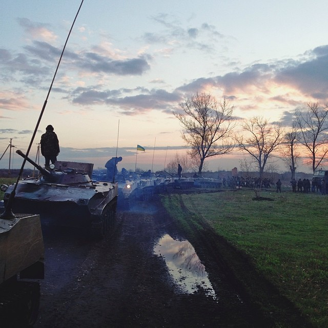 Ukrainian tanks in Izyum