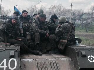 Disconsolate Ukraine soldiers at Kramatorsk - they didn't want to fight.