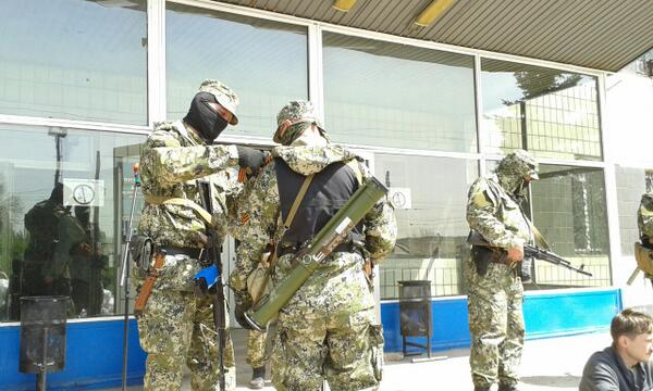 Russian militants seized administrative building in Konstantinovka Ukraine