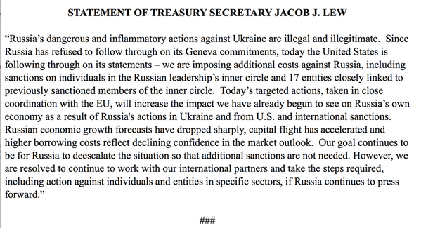 Statement Of Treasury Secretary Jacob J. Lew