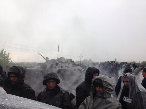 Ukraine soldiers in stand off with pro Russia locals at Andreevka near Slovyansk