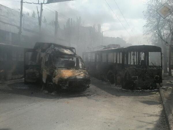 Burnt vehicles in Kramatorsk