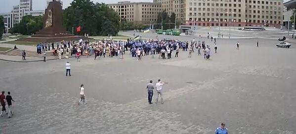 Pro-russian rally on the square of Freedom in Kharkiv