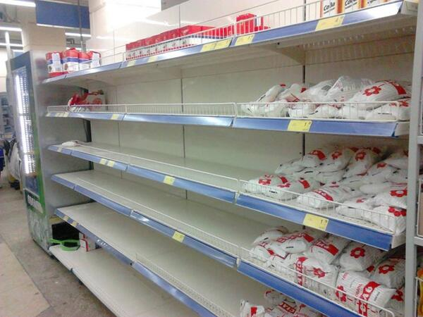 Shelves with sugar in ATB market in Donetsk