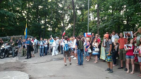 Ukrainians in Kyiv in front of France embassy protesting against Mistral warships deal with Putin