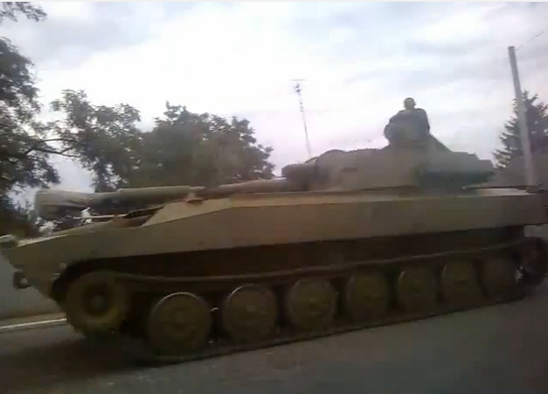 Parts of Rus army convoy that came in tonight moves through Yenakieve