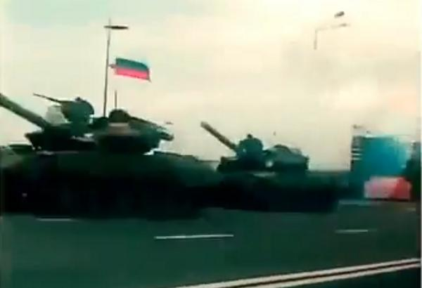 Russian tanks stop in city centers of Donetsk. euromaidan